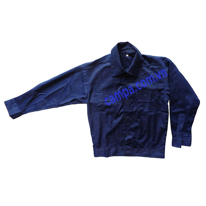áo công nhân màu xanh đen