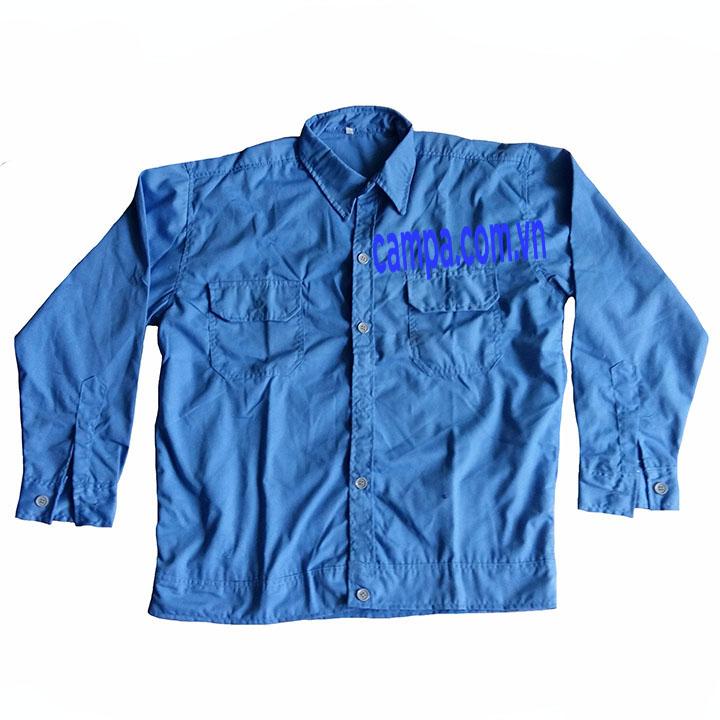 áo công nhân màu xanh dương
